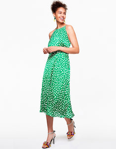 ALL THE DOTS DRESS GREEN MULTI