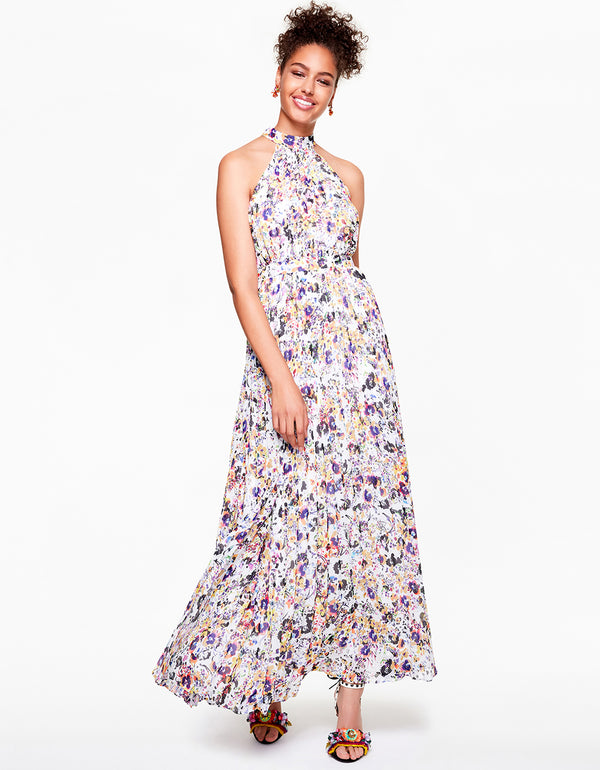 FLORAL FROLIC MAXI DRESS WHITE MULTI - APPAREL - Betsey Johnson