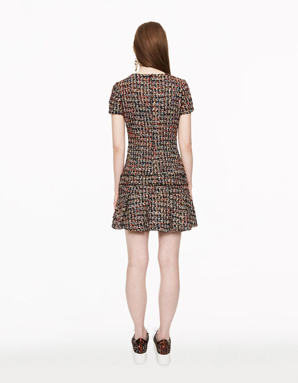 RUFFLED HEM TWEED DRESS BLACK MULTI - APPAREL - Betsey Johnson