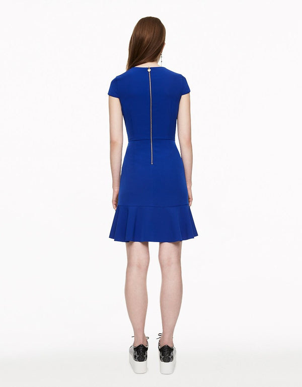 RUFFLING IT UP DRESS BLUE - APPAREL - Betsey Johnson