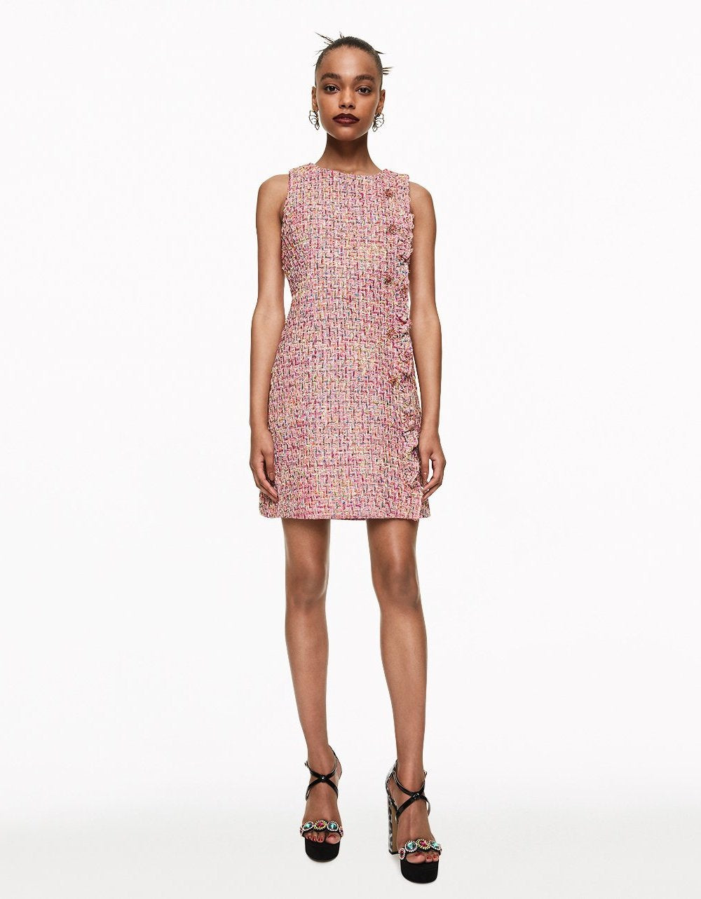RUFFLED TWEED DRESS WITH BUTTONS PINK - APPAREL - Betsey Johnson