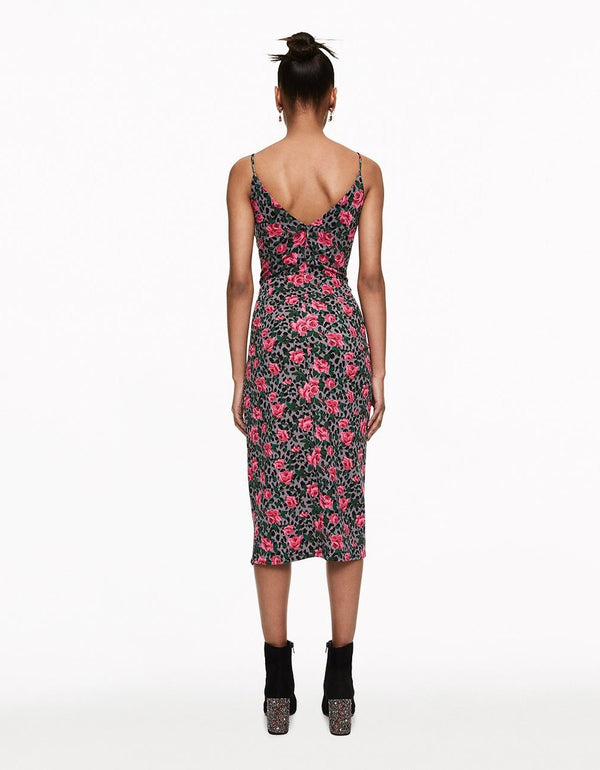 CHEETAH ROSE FAUX WRAP DRESS MULTI - APPAREL - Betsey Johnson