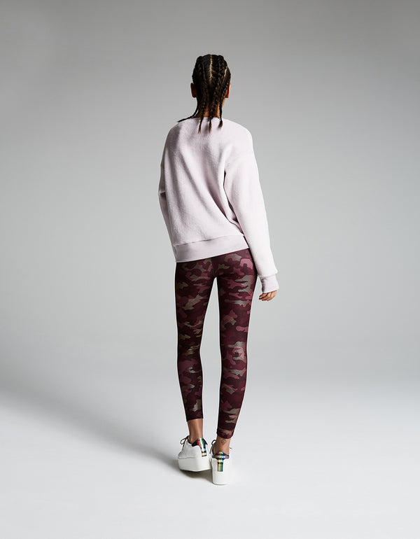 METALLIC CAMO HIGH RISE ANKLE LEGGING WINE - APPAREL - Betsey Johnson