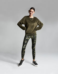 METALLIC CAMO HIGH RISE ANKLE LEGGING GREEN