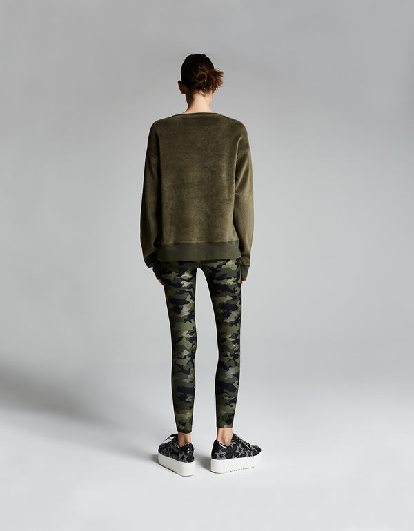 METALLIC CAMO HIGH RISE ANKLE LEGGING GREEN - APPAREL - Betsey Johnson