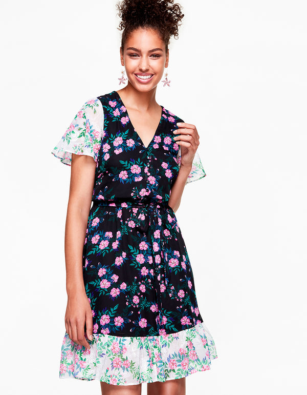 MIXED GARDEN DRESS BLACK MULTI - APPAREL - Betsey Johnson