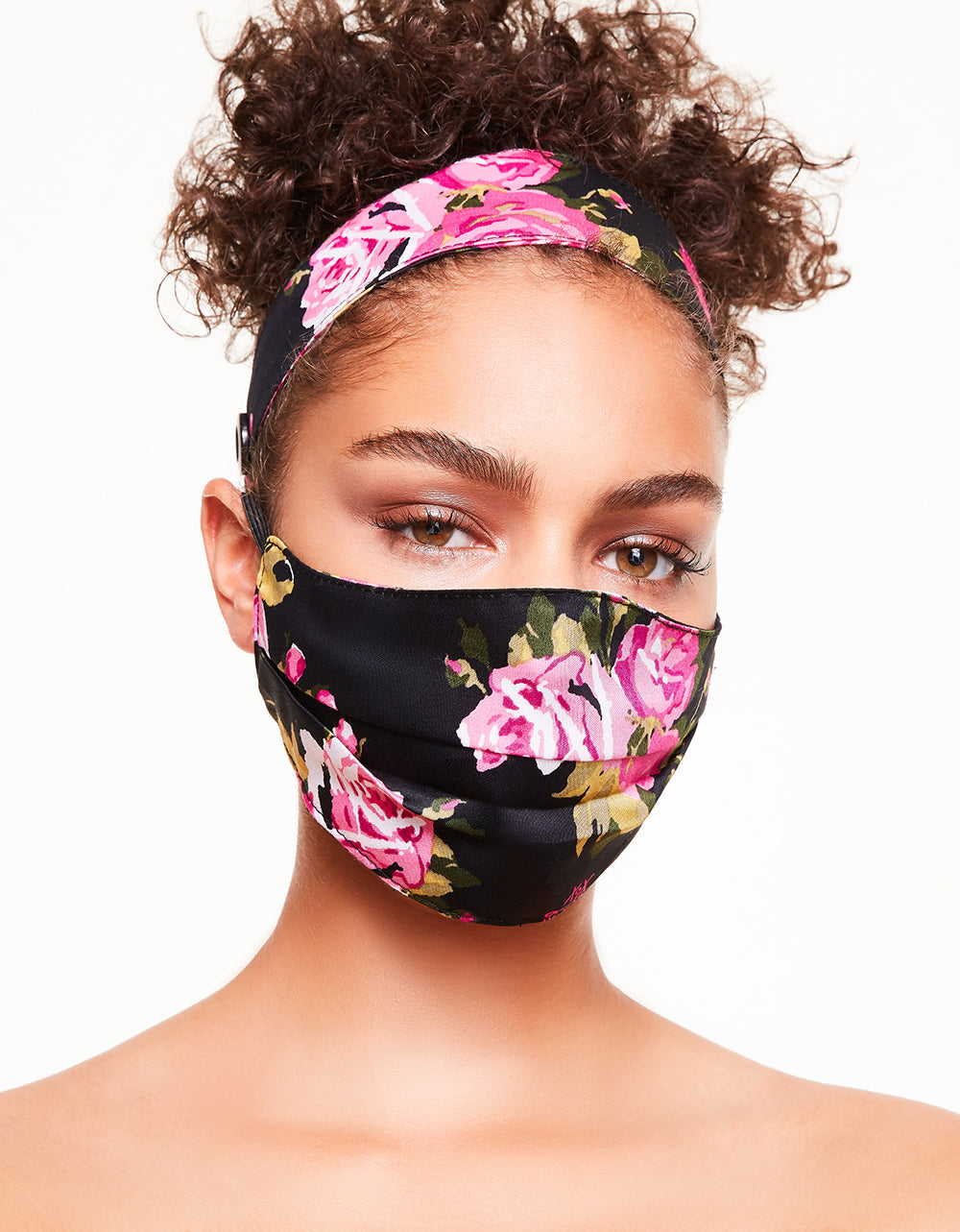 HEADBAND AND PRINTED FASHION FACE MASK SET BLACK MULTI - ACCESSORIES - Betsey Johnson