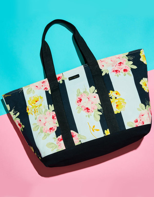 FLOATING AWAY FLORAL TOTE BLACK-WHITE - HANDBAGS - Betsey Johnson
