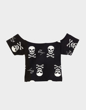 BETSEYS VINTAGE INSPIRED CROP TOP BLACK-WHITE - APPAREL - Betsey Johnson