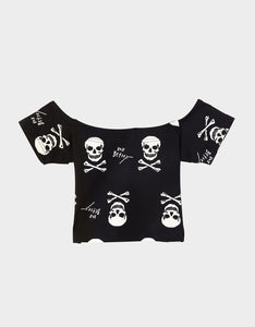 BETSEYS VINTAGE INSPIRED CROP TOP BLACK-WHITE