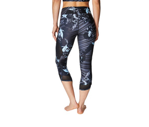 AIRBRUSH PRINT MESH INSET CROP LEGGING BLACK MULTI