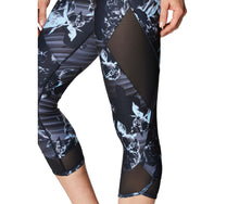 AIRBRUSH PRINT MESH INSET CROP LEGGING BLACK MULTI - APPAREL - Betsey Johnson