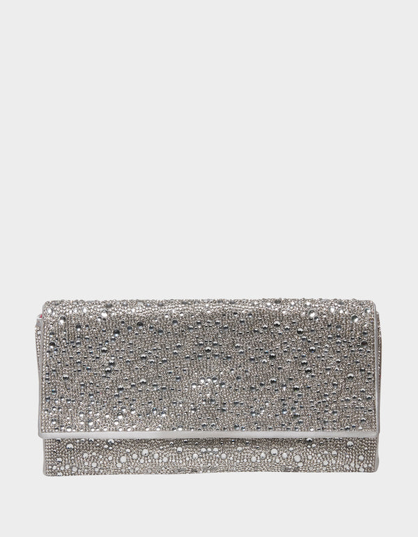 ALL EYES ON ME CLUTCH SILVER - HANDBAGS - Betsey Johnson