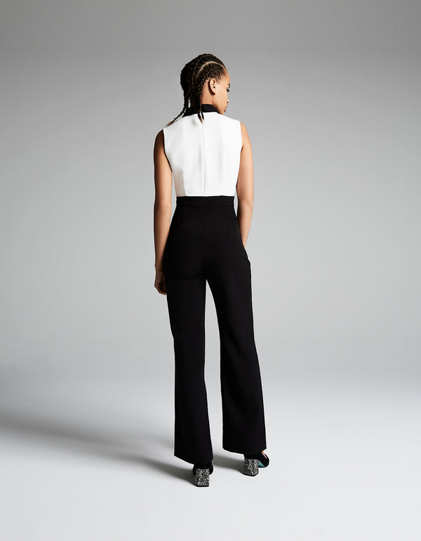 ALL THE TRIMMINGS JUMPSUIT BLACK-WHITE - APPAREL - Betsey Johnson