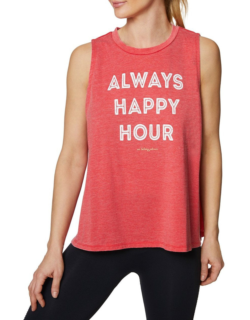 ALWAYS HAPPY HOUR TANK RED - APPAREL - Betsey Johnson