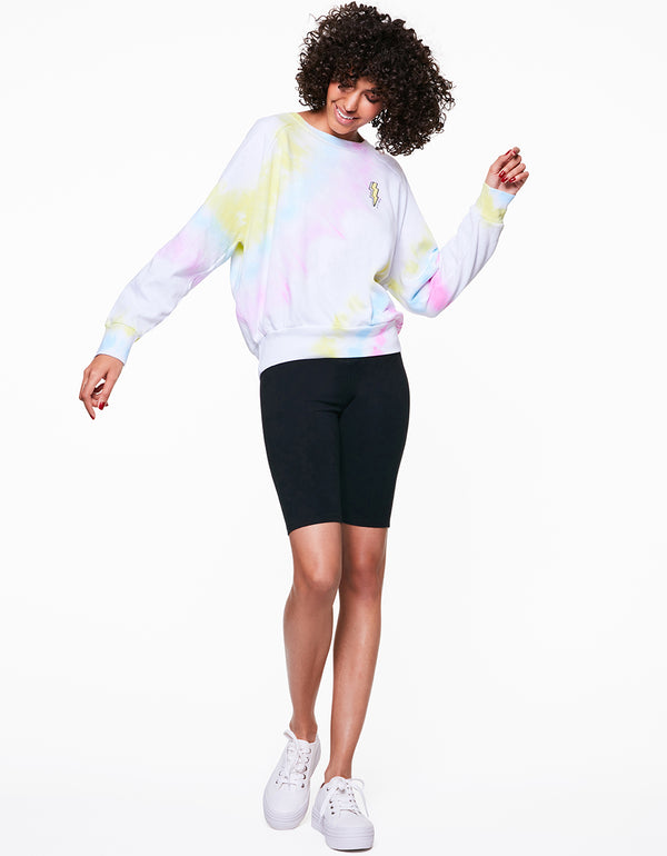 ANGLED TIE DYE SWEATSHIRT WHITE - APPAREL - Betsey Johnson