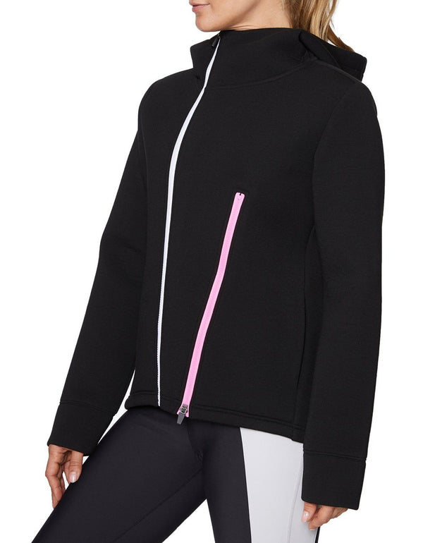 ASYMETRIC ZIP FRONT BONDED JACKET BLACK - APPAREL - Betsey Johnson