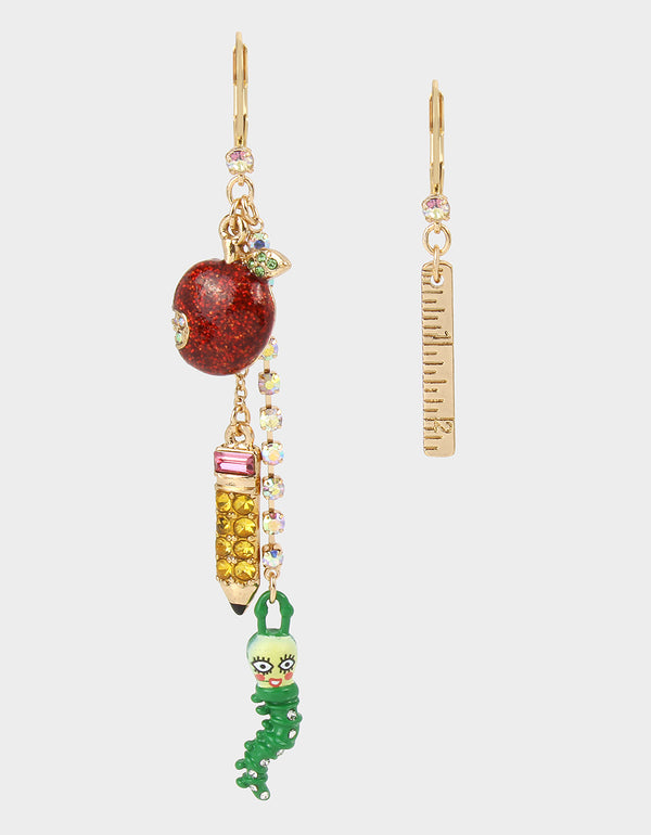 BACK TO SCHOOL APPLE MISMATCH EARRINGS MULTI - JEWELRY - Betsey Johnson