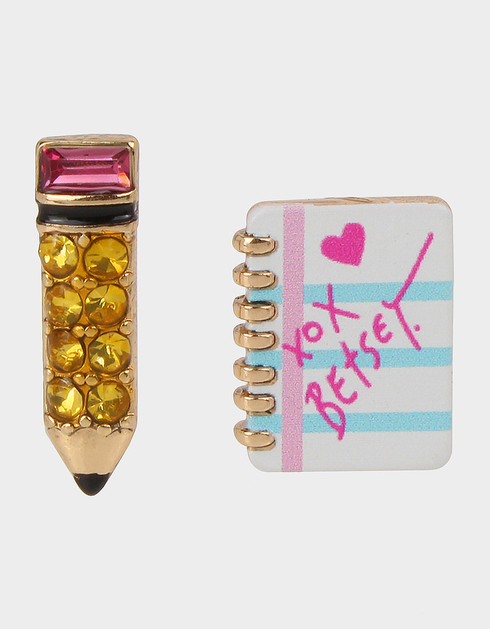 BACK TO SCHOOL PENCIL STUDS PINK - JEWELRY - Betsey Johnson