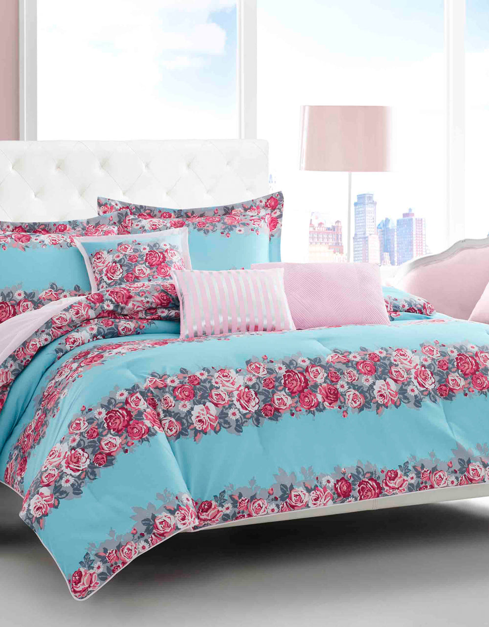 BANDED FLORAL KING COMFORTER SET TURQUOISE - BEDDING - Betsey Johnson