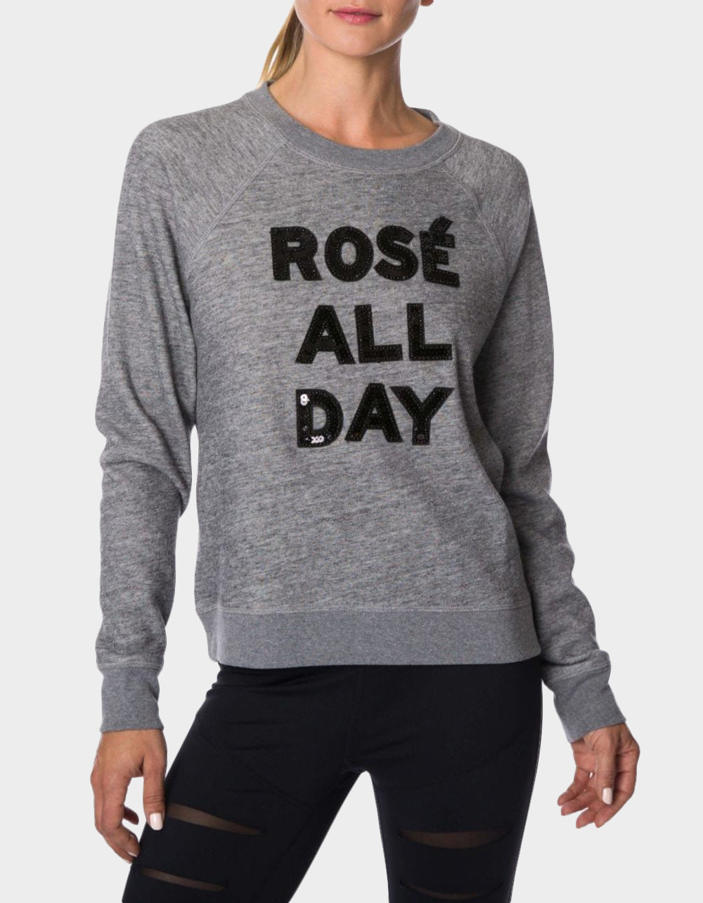 BEADED ROSE ALL DAY SWEATSHIRT CHARCOAL - APPAREL - Betsey Johnson