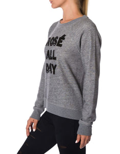 BEADED ROSE ALL DAY SWEATSHIRT CHARCOAL