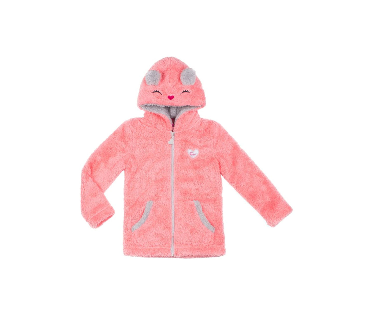 BEARY CUTE 4-6X HOODIE CORAL - APPAREL - Betsey Johnson