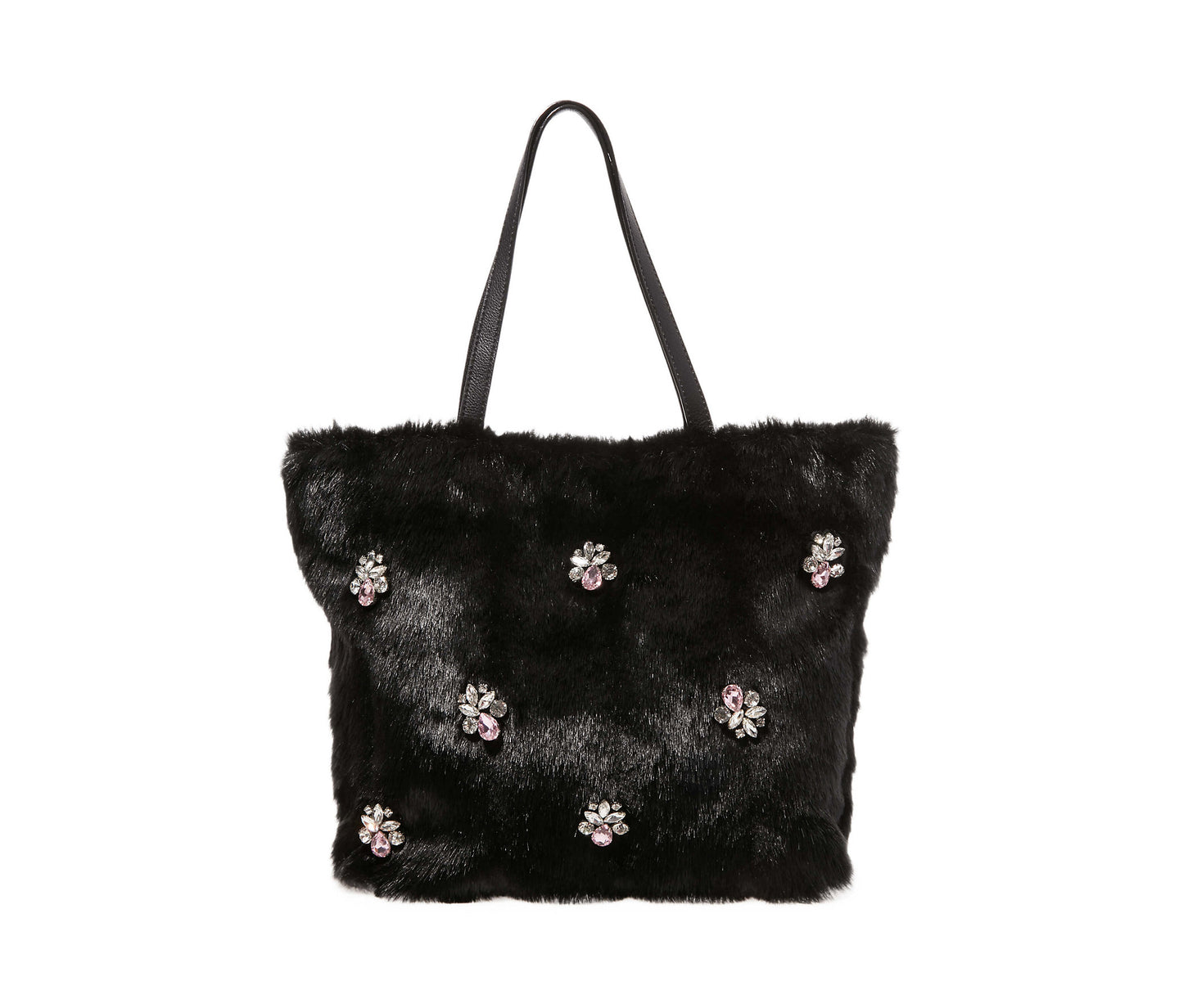 BEJEWELED FUR TOTE BLACK - HANDBAGS - Betsey Johnson