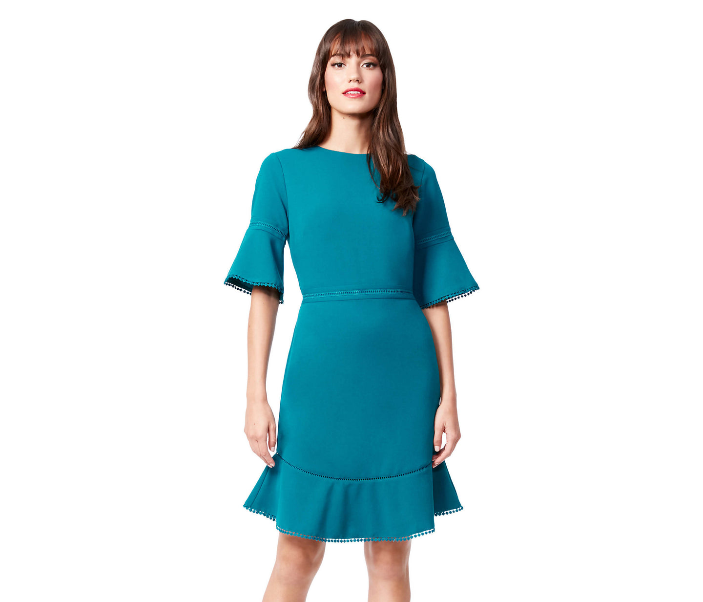 BELL SLEEVE SCUBA CREPE DRESS TEAL - APPAREL - Betsey Johnson