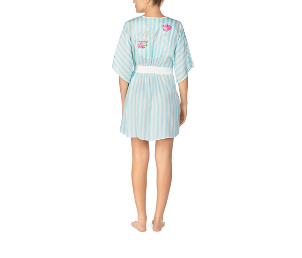 BEST DAY EVER WASHED SATIN ROBE BLUE - APPAREL - Betsey Johnson