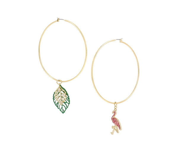 BETSEY BLAST FLAMINGO HOOP EARRINGS MULTI - JEWELRY - Betsey Johnson