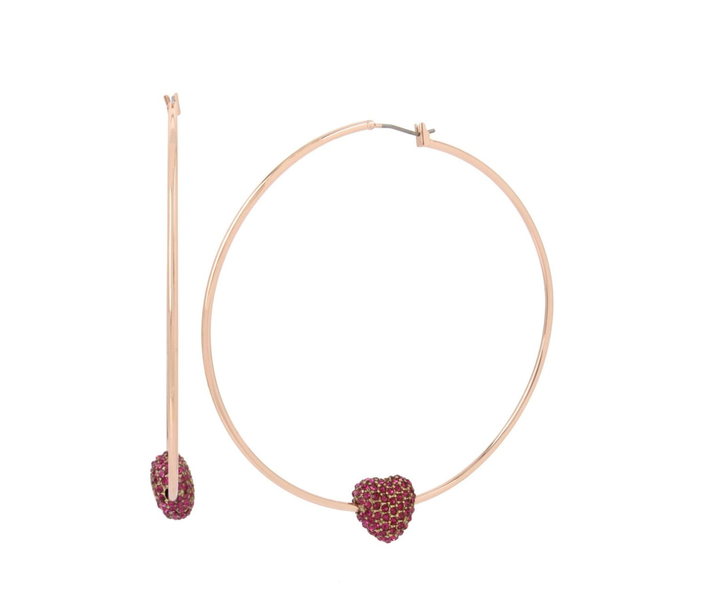 BETSEY BLAST HEART HOOP EARRINGS FUCHSIA - JEWELRY - Betsey Johnson