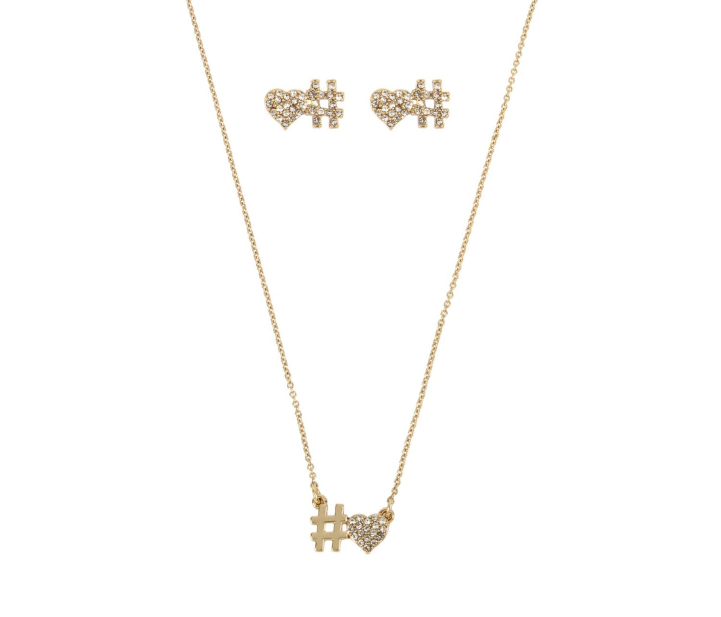 BETSEY BLUE LOVE LETTERS GOLD HASHTAG SET GOLD - JEWELRY - Betsey Johnson