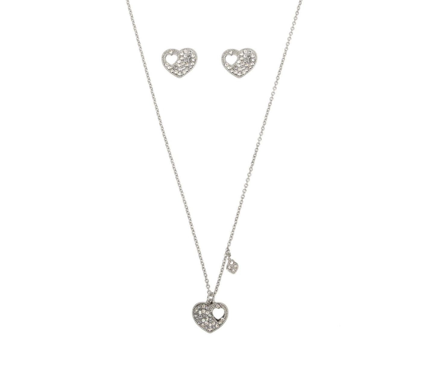 BETSEY BLUE LOVE LETTERS SILVER HEART SET SILVER - JEWELRY - Betsey Johnson