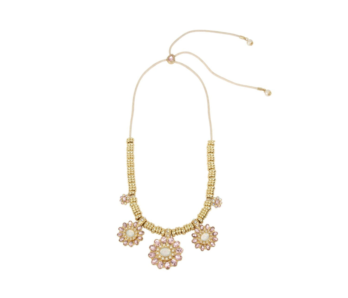 BETSEY BLUE TICKLED PINK FLOWER NECKLACE PINK - JEWELRY - Betsey Johnson