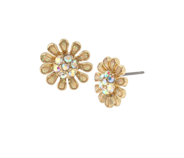 BETSEY BLUE TICKLED PINK FLOWER STUD EARRINGS YELLOW - JEWELRY - Betsey Johnson