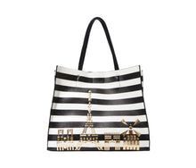 BETSEY IN THE CITY TOTE BLACK-WHITE - HANDBAGS - Betsey Johnson