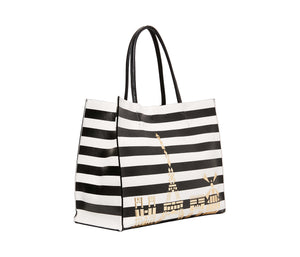 BETSEY IN THE CITY TOTE BLACK-WHITE