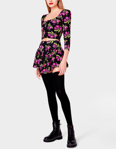 BETSEYS VINTAGE INSPIRED FLOUNCE MINI SKIRT CHERRY