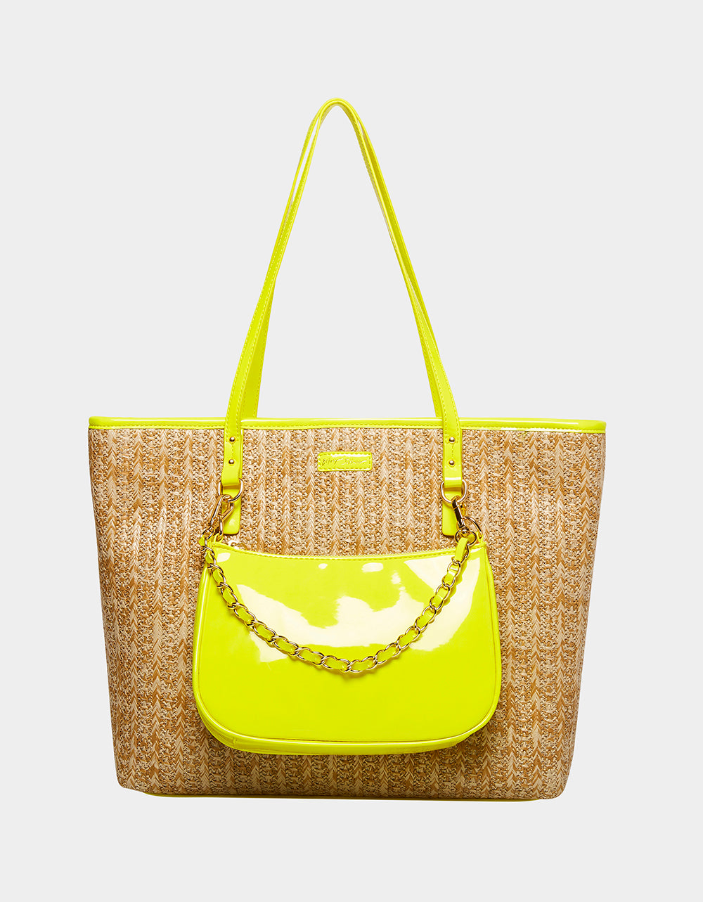 BRIGHT SPOT STRAW TOTE COMBO YELLOW