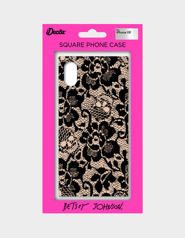 BETSEY LACE CASE FOR IPHONE XR BLACK/PINK - ACCESSORIES - Betsey Johnson