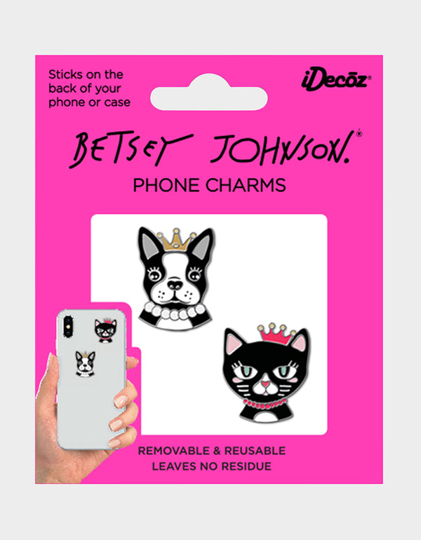 BETSEY LACE PHONE CHARMS BLACK/PINK - ACCESSORIES - Betsey Johnson