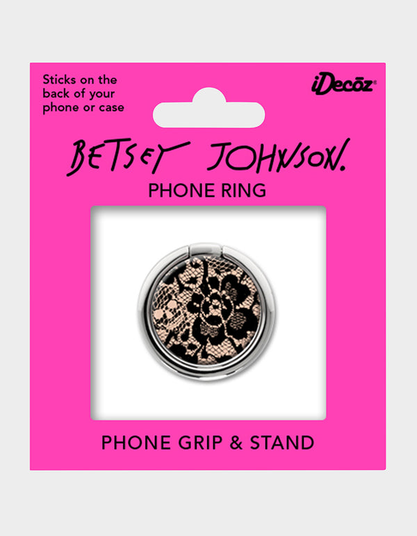 BETSEY LACE PHONE RING BLACK/PINK - ACCESSORIES - Betsey Johnson