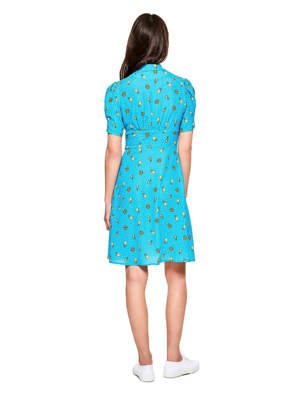 LEMON SURPRISE DRESS BLUE MULTI - APPAREL - Betsey Johnson