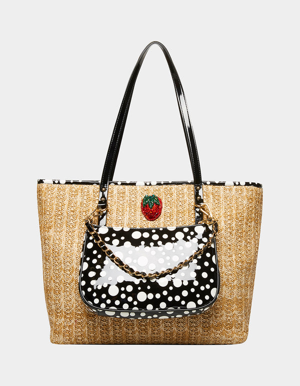 STRAWBERRY FIELDS STRAW TOTE COMBO NATURAL - HANDBAGS - Betsey Johnson