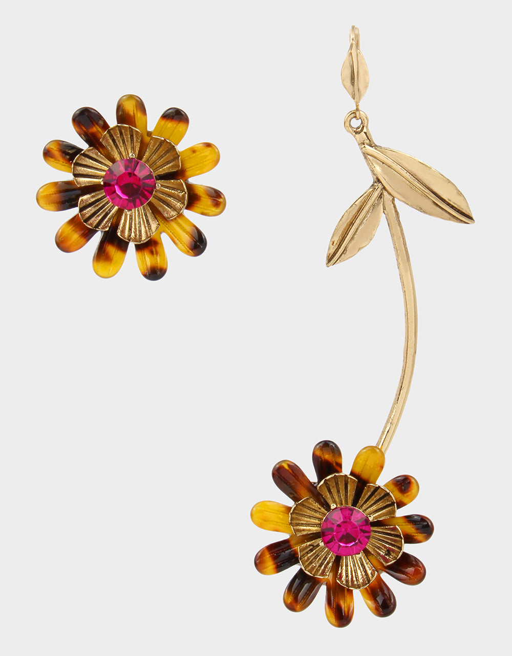 BETSEYS DAYDREAM FLOWER MISMATCH EARRINGS FUCHSIA