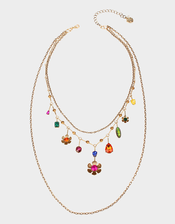 BETSEYS DAYDREAM MULTI ROW NECKLACE MULTI - JEWELRY - Betsey Johnson