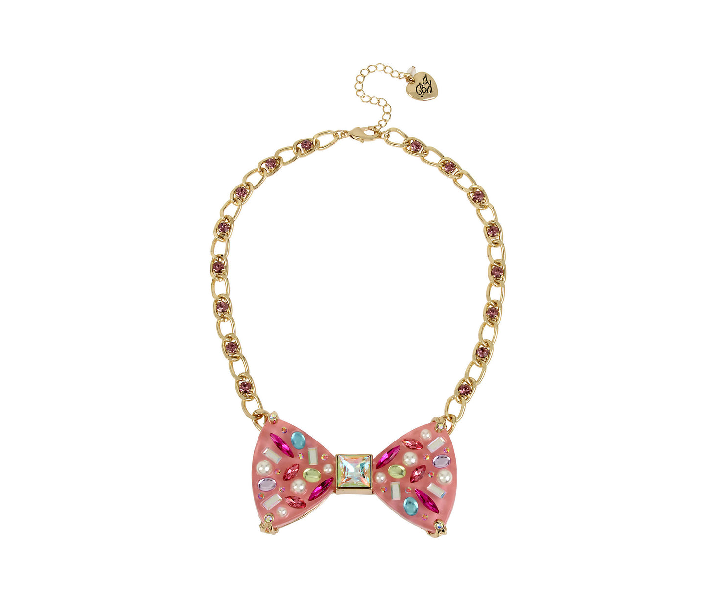 BETSEYS FUNFETTI BOW NECKLACE PINK - JEWELRY - Betsey Johnson