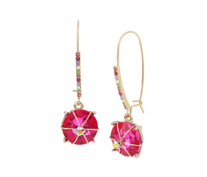 BETSEYS FUNFETTI STONE HOOK EARRINGS PINK