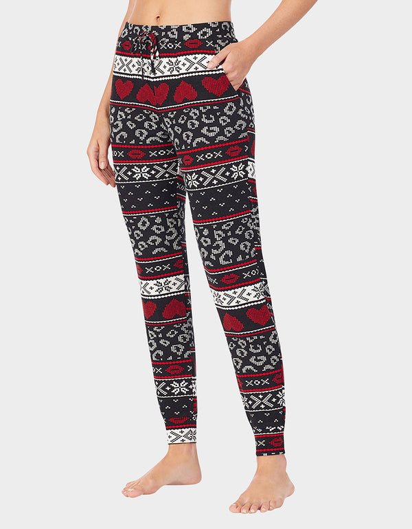 BETSEYS HOLIDAY PARTY JOGGER BLACK MULTI - APPAREL - Betsey Johnson